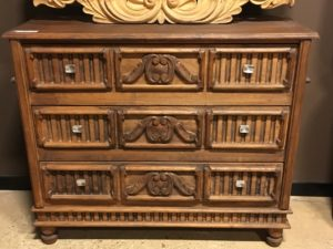 Wood Hand Carved Furniture. 3 Drawer Chest